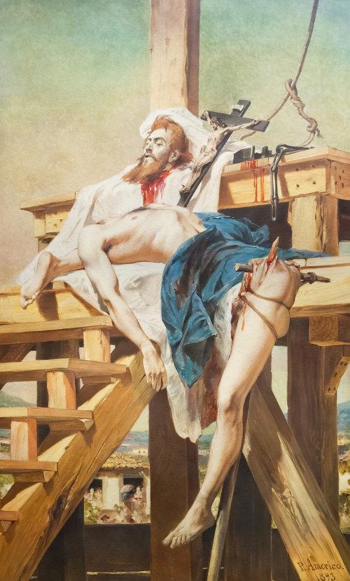 Representação da morte e do esquartejamento de Tiradentes pelo pintor Pedro Américo.