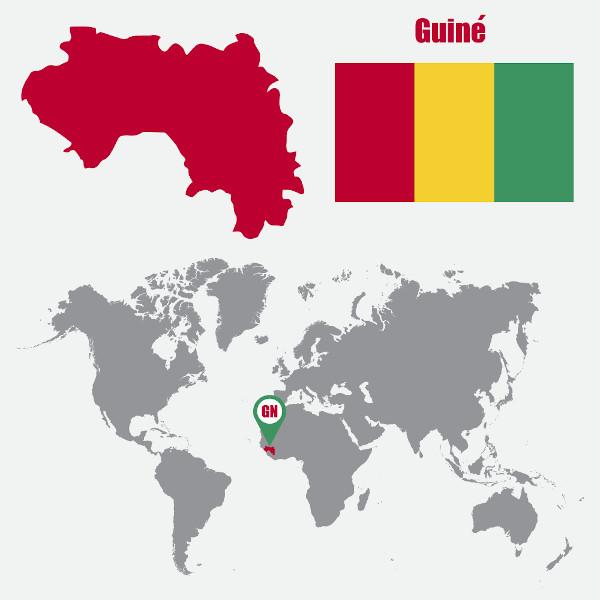 Mapa-múndi com a localização da Guiné.