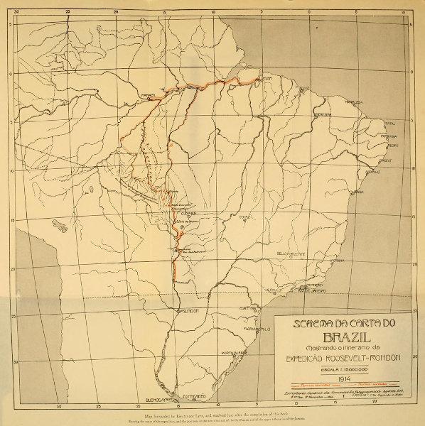 Mapa da expedição Rondon-Roosevelt, ocorrida entre 1913 e 1914, na região amazônica.