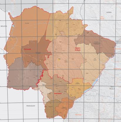 Mapa de Mato Grosso do Sul com as regiões geográficas intermediárias.
