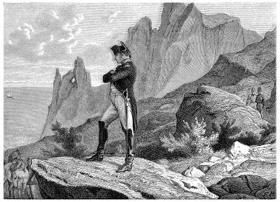 Napoleão em seu exílio definitivo na ilha de Santa Helena.