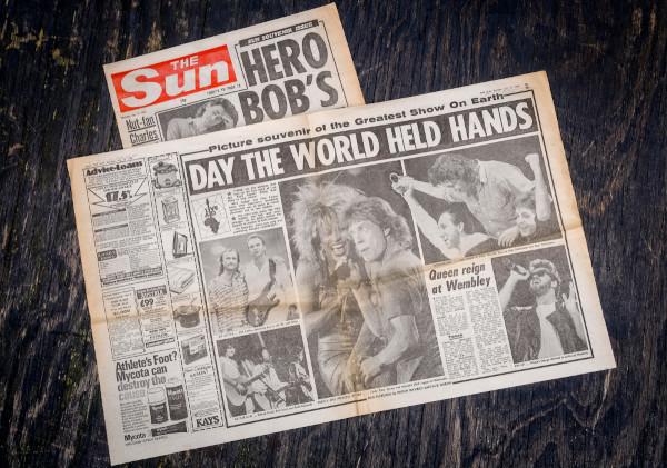 """Fotos do jornal """"The Sun"""" de 13 de julho de 1985."""