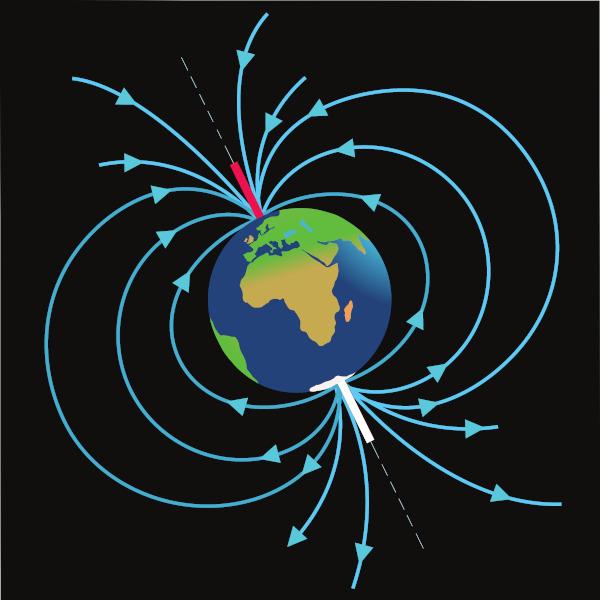 Representação do campo magnético terrestre