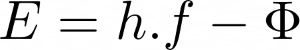Equação com a função trabalho para cálculo da energia mínima para ocorrência do efeito fotoelétrico