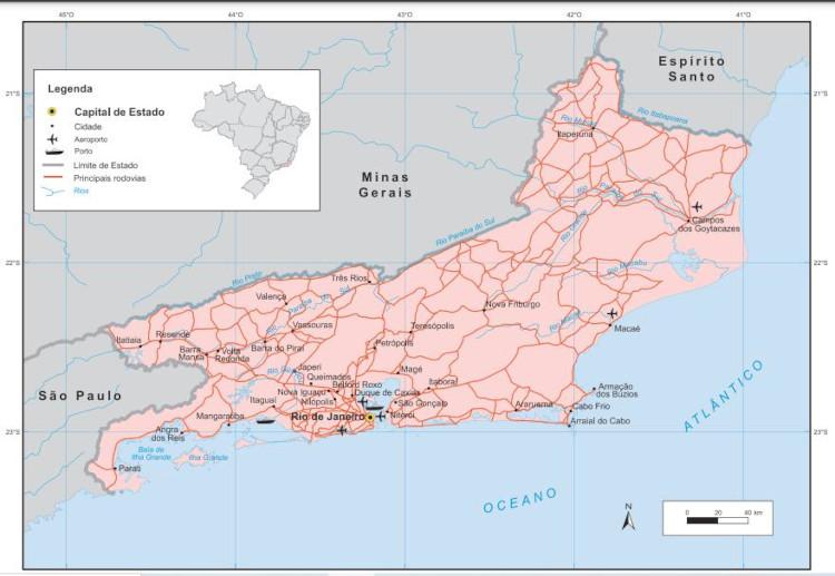 Mapa mostra localização do estado Rio da Janeiro, suas principais cidades e áreas fronteiriças. Fonte: IBGE.