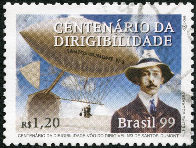 Selo impresso no Brasil mostra voo de Alberto Santos Dumont e o seu Dirigível N-3. [1]