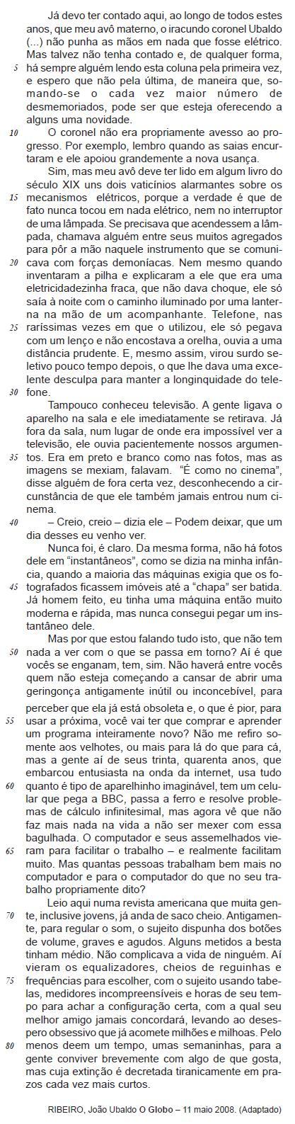Trecho de texto do João Ubaldo Ribeiro usado em questão da Cesgranrio sobre pronomes possessivos