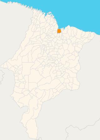 Mapa do estado do Maranhão. Em destaque, a capital São Luís.  Fonte: IBGE.