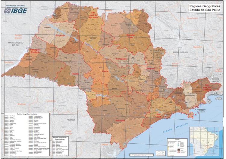 Mapa do estado de São Paulo que apresenta suas regiões intermediárias.