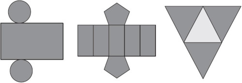 Planificação geométrica de três modelos de caixas — enunciado questão Enem 2012