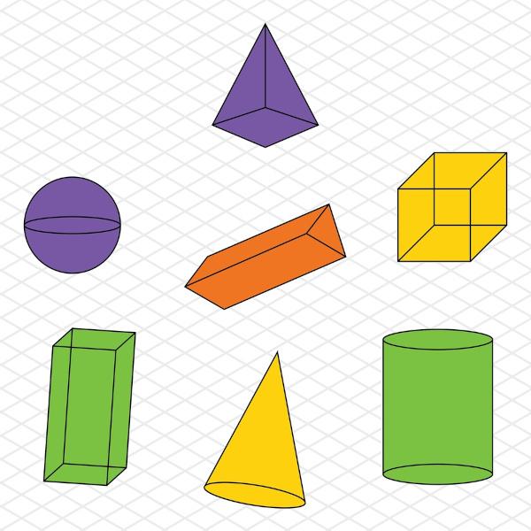 A geometria espacial é a área da Matemática que estuda objetos tridimensionais.