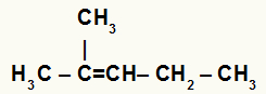 Fórmula estrutural do 2-metil-pent-2-eno
