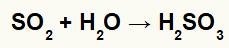 Equação representando a formação do ácido sulfuroso.