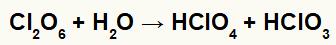 Equação de formação do ácido perclórico e clórico.
