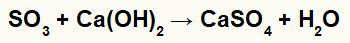 Equação representando a formação do sulfato de cálcio.