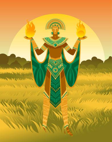 Representação moderna de Inti, o deus Sol dos incas.