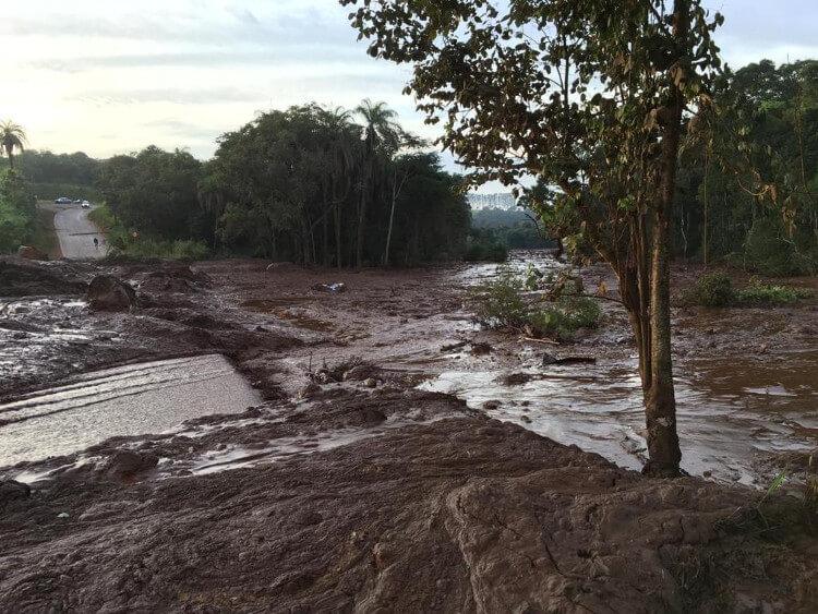 Área destruída em Brumadinho pelo rompimento da barragem