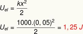 Cálculo da energia potencial elástica