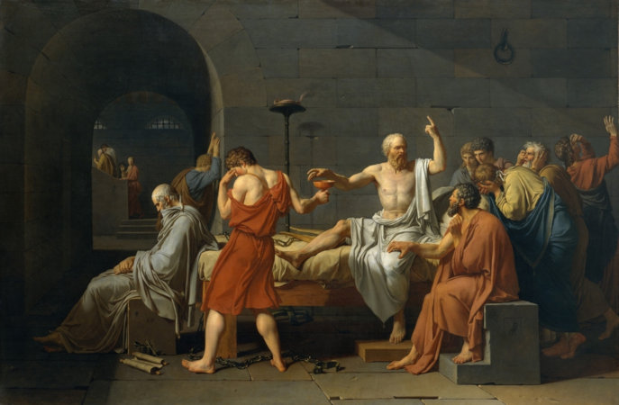 A morte de Sócrates, em pintura de Jacques Louis David (1787).