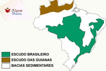 Mapa de localização e distribuição da estrutura geológica do Brasil