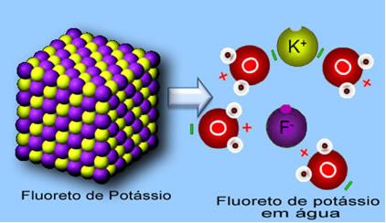 Na dissolução do fluoreto de potássio em água, os átomos de hidrogênio interagem com os ânions e os oxigênio com os cátions