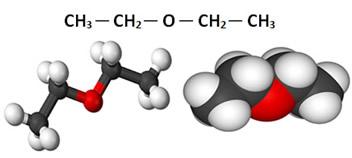 Fórmula estrutural do éter etílico (etoxietano)