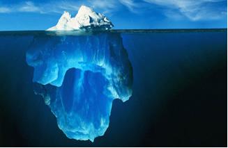 A maior parte do iceberg fica debaixo da superfície da água.