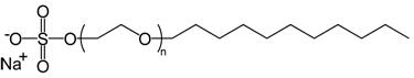 Representação da estrutura química de um dos principais detergentes, o lauril sulfato de sódio.