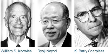 William S. Knowles, Ryoji Noyori e K. Barry Sharpless, ganhadores do prêmio Nobel de Química de 2001