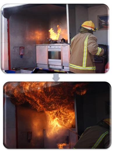 Simulação de explosão por se jogar água em óleo pegando fogo