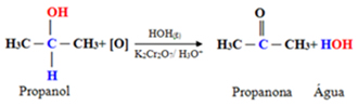 Oxidação do propan-2-ol, um álcool secundário