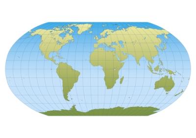 Mapa-múndi na projeção de Robinson