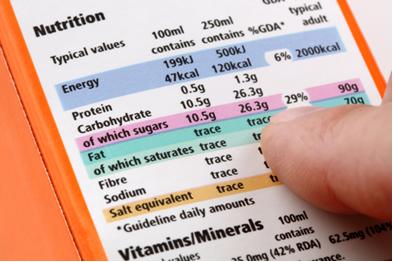 Informações nutricionais em rótulo de alimento