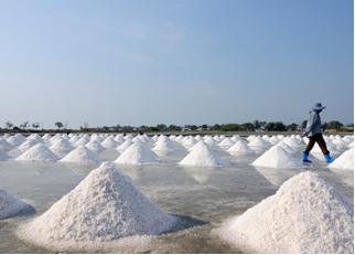 Montes de sal de cozinha extraídos da água do mar
