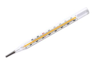 Termômetro de mercúrio usado para medir temperatura