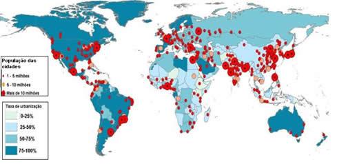 Mapa da taxa de urbanização mundial