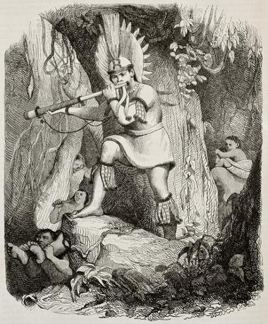 Representação de índios brasileiros feita por Jean-Baptiste Debret no século XIX