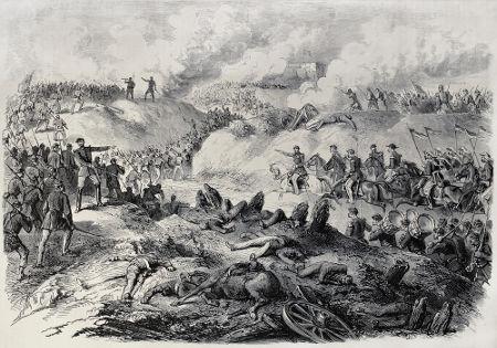 Ilustração do século XIX que retrata uma batalha travada durante a Guerra do Paraguai