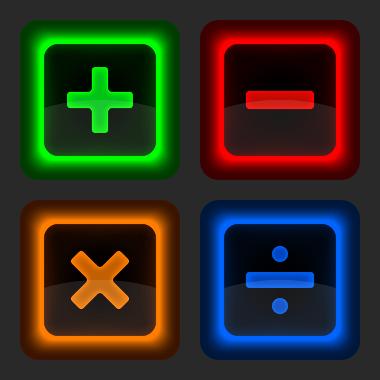 Math Symbols of the four operation. / Os símbolos matemáticos das quatro operações