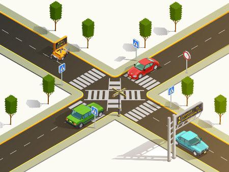 O cruzamento de retas, como nas ruas que se cruzam, produz ângulos opostos pelo vértice