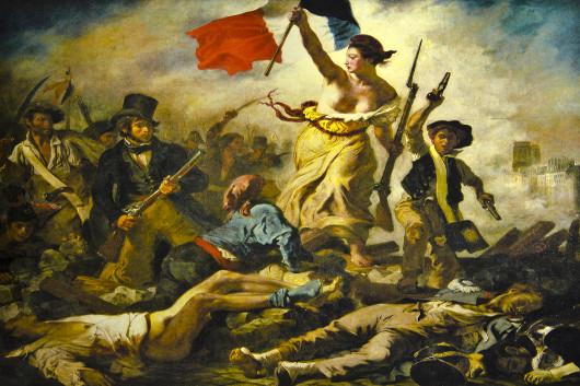 """""""A liberdade guiando o povo"""", obra de Eugene Delacroix, de 1830"""