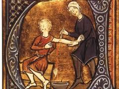 Ilustração representando os médicos da Idade Média.