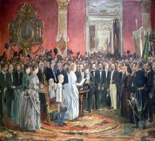 Tela Abolição da Escravatura, de Victor Meirelles (1832-1903), retratando o momento da assinatura da Lei Áurea