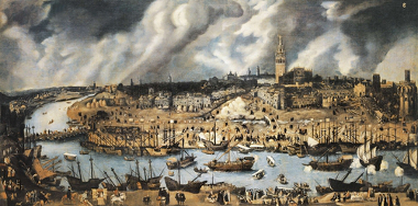 Acima, o porto de Sevilla, na Espanha. Importante centro da administração colonial espanhola