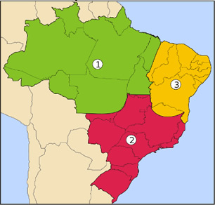 Mapa das três regiões geoeconômicas do Brasil. 1: Amazônia; 2: Centro-Sul; 3: Nordeste. ¹
