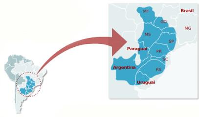 Mapa de Localização do Aquífero Guarani *
