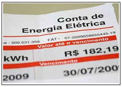 Fatura mensal da conta de energia elétrica