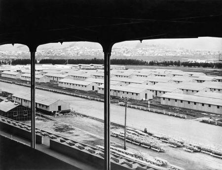 Alojamentos de um campo de concentração construídos para abrigar nipo-americanos durante a Segunda Guerra.*