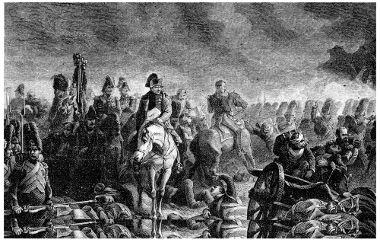 Napoleão, em primeiro plano, observando as tropas na Batalha de Waterloo