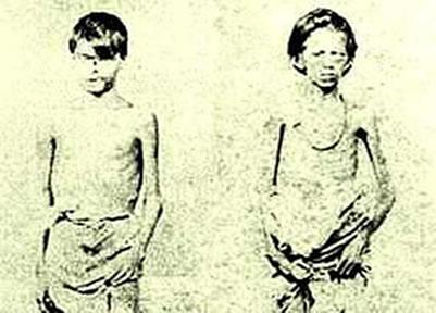 Foto do século XIX de duas crianças que participaram da Guerra do Paraguai.